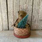 Primitive Sm  Teddy Bear Grungy 5  Hand Stitched In A Paper Mache Box Christmas