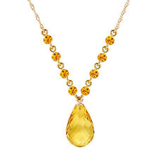 11.5 CTW 14K Solid gold fine Impossible Otherwise Citrine Necklace 16-24""