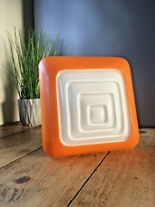 RETRO WHITE & ORANGE GLASS POP ART SQUARE CEILING LIGHT WALL LAMP SHADE 60'S 70S