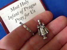 Rare Holy Infant of PRAGUE Icon and Rosary Ring Pocket Folder Statue Saint Italy