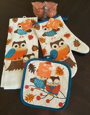 5pc Fall Owl Kitchen Towel Oven Mitt Potholder & Salt & Pepper Set
