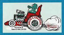 "VINTAGE ORIGINAL 1960 ""ROCCO & CHEATERS SPEED SHOP"" BIRMINGHAM WATER DECAL ART"