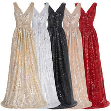 Charm Sequin Long Bridesmaid Evening Formal Party Cocktail Gown Prom Maxi Dress#