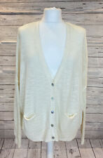 360 sweater Womens Cream Sparkle Linen Blend Long Sleeve Cardigan Size Medium