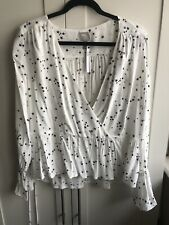 Asos Wrap Blouse In Star Print Size 10