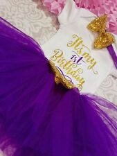 Baby girl first 1st Birthday outfit tutu party dress Cake Smash photo shoot bow