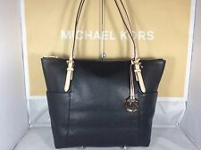 NWT Authentic Michael Kors Black Leather Jet Set Item East West Tote Bag Purse