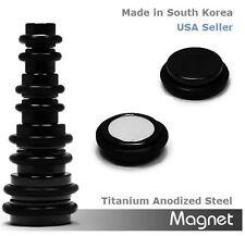 Ear Plugs Sold as 1 Pair Black Titanium Anodized Steel Magnetic Earrings Fake