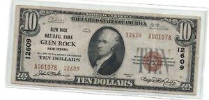 Glen Rock, NJ $10 1929 Ty. 1  Glen Rock National Bank #12609