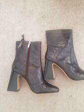 Marks And Spencer Ladies Autograph High Leather 7.5 Heeled Croc Boots Black