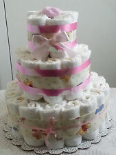 3 Tier Winnie the Pooh Girl Diaper Cake Baby Shower Centerpiece Gift - Pink