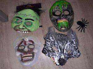 Kids halloween rubber and plastic face masks bundle fancy dress outfit