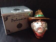 "Rare Kurt S. Adler ""Cowboy Head"" Christmas Glass Ornament Polonaise Collection"