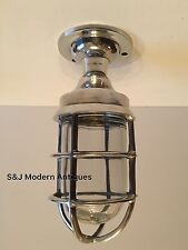 Industrial Bulkhead Wall Light Vintage Antique Retro Cage Ship Lamps Aluminium