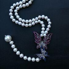 "GE100202 22""White Pearl Sea Shell Pearl Necklace CZ Pendant"