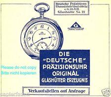 Präzisionsuhr Glashütte Reklame von 1921 Uhr Taschenuhr Sachsen Uhrenfabrik ad