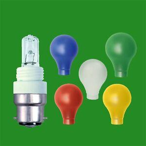 4x 28W G9 Halogen GLS Light Bulb Coloured Adaptor Covers E27 B22 E14 B15