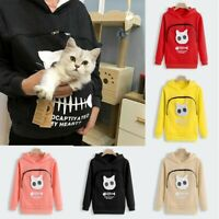 Women's Sweatshirt Animal Pouch Hood Tops Carry Cat Breathable Pullover Blouse