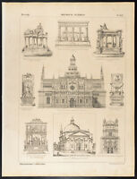 1860 Grabado Historia: Tumbas, Venecia, Pavie. Luis XIII , Westminster