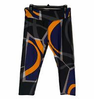Fabletics Mid Rise Orange/Blue Printed PowerHold Capri Leggings Large