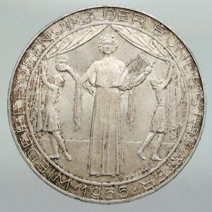 1955 AUSTRIA Vienna Burgtheater National Theatre Silver 25 Schilling Coin i92233
