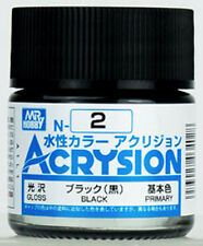 GSI CREOS GUNZE MR HOBBY ACRYSION ACRYLIC N002 N2 Black AQUEOUS COLOR PAINT 10ml