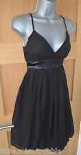 Pretty MISO 'Little Black Dress' Strappy Ribbon TIE BACK party Dress UK size 8