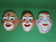 LAUREL et HARDY + Joker ? Lot Masque Clown ancien carton bouilli Mask - no Cesar