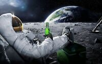 Abstract Moon - Spaceman Beer Planet Large Wall Poster & Canvas Picture Prints