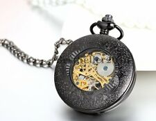 Mens Vintage Mechanical Pocket Watch Analog Skeleton Hand Wind Mechanical Watch