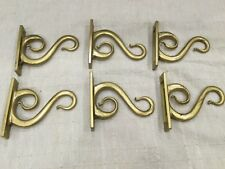 Vtg Set 6 Old Style Brass Finished Double Hook Wall Mounted Coat hat Decorative