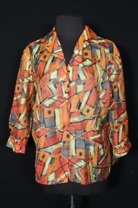 RARE VINTAGE FRENCH 1970'S VIVID SHEER NYLON BLOUSE PLUS SIZE 46 INCH BUST