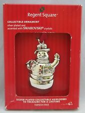 Regent Square Harvey Lewis SNOWMAN Ornament Silverplated Swarovski Crystals  NIB