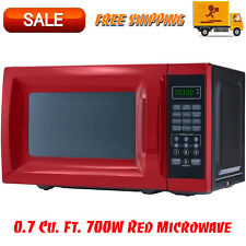 0.7 Cu. Ft. 700W Red Microwave with 10 Power Levels, Kitchen Appliances