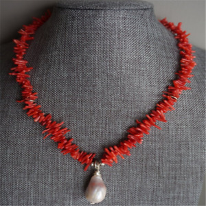 14-20mm White Baroque Pearl Pendant Red Coral Necklace 18inches noble Luxury