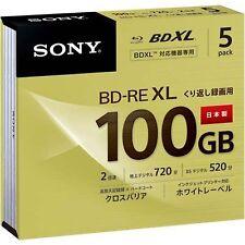 Sony 5pcs Blu-ray Disc BD-RE XL BDXL 100GB Rewirtable  White printable Japan