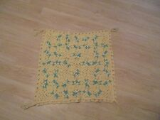 "Beautiful ""Handmade ""Yellow, Green  & White Scalloped Knitted Afghan 25 x 27"