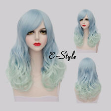 Lolita 60CM Light Blue Gradient Curly Harajuku Women Daily Cosplay Party Wig