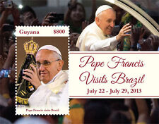 """POPE FRANCIS """"Visits Brazil"""" Collection, Guyana Stamps 1 sheet and S/S"""