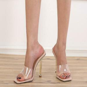 Womens Sexy Summer Peep Toe Transparent PVC Sandals High Heels Slippers Shoes 55