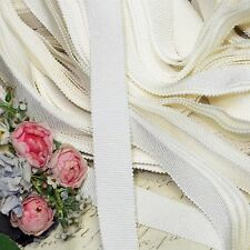 "5yds 5/8"" French White Petersham Ribbon Dyeable Millinery Hat Ribbon Cocarde Vtg"