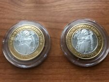 Two 4 Queens Casino Limited Edition 10 Dollar Gaming Token Silver Clad