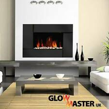 Wall Mounted Black Glass Electric Fire Fireplace Living Flicker Flame Heater