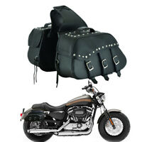 Universal Motorcycle Saddlebag Pannier Leather Right Left Bag Fit All Motorbikes