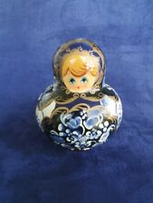 Vtg R. Ceprueb Nocag Hand Painted/Signed Russian Nesting Doll 10 Pc Blue 4 inch