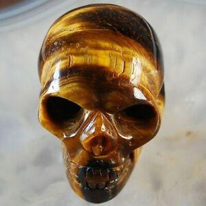 W061 50x38x32 Yellow Tiger Eye Gem Carved Skull Display Decoration