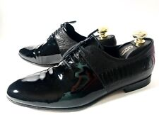 Gucci Black Ostrich Leather + Patent Leather Shoes Size 41 UK-7 US-8