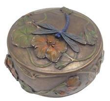 Veronese Bronze Figurine Art Nouveau Trinket Box Dragonfly Gift Home Decor