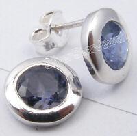 "925 Sterling Silver Iolite Antique Look Studs Earrings 0.4"" Gemstone Jewelry"