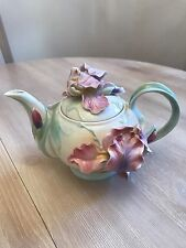 Rare Franz Porcelain Collection. Windswept Beauty Iris Design Teapot